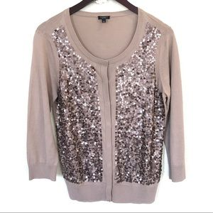 Talbots beige taupe sequin cardigan sweater Large